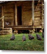 Chickens - Log House - Farm Metal Print