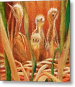 Chicks In The Reeds Metal Print