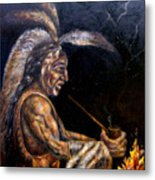 Chief At The Campfire Metal Print