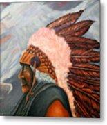 Chief Eagle Cloud Metal Print