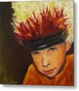 Chief Wannabee #2, Native American Indian Child   Metal Print