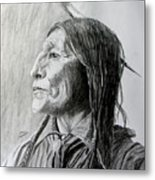 Chief Wolf Robe Metal Print