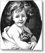 Child & Pet, 19th Century Metal Print