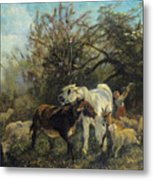 Child And Sheep In The Country Metal Print