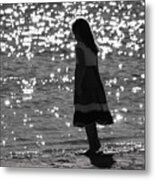 Child By Water Metal Print