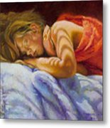Child Sleeping Print Wall Art Room Decor Metal Print