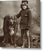 Child With Dog, C1885 Metal Print