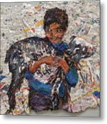 Child With Goat On Handmade Paper Metal Print