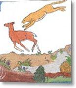 Childhood Drawing Cougar Attacking Deer Metal Print