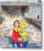 Children And A Rainbow Metal Print