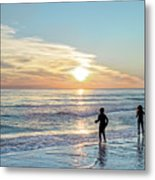 Children At Play On A Florida Beach  Metal Print
