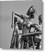 Children At Play Statue B W Metal Print