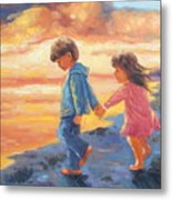 Children At Sunset Metal Print