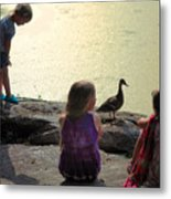 Children At The Pond 1 Metal Print