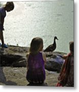 Children At The Pond 1 Version 2 Metal Print