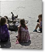 Children At The Pond 2 Metal Print