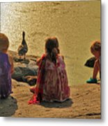 Children At The Pond 4 Metal Print
