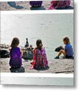 Children At The Pond Triptych Metal Print