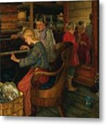 Children By The Piano Metal Print