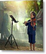 Children In Folk Costumes Playing Violin In Thailand Metal Print