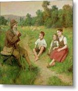 Children Listen To A Shepherd Playing A Flute Metal Print