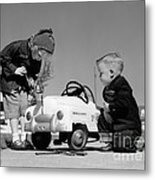 Children Play At Repairing Toy Car Metal Print