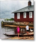 Children Playing At Harbor Essex Ct Metal Print