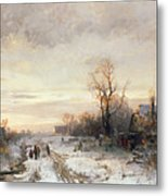 Children Playing In A Winter Landscape Metal Print