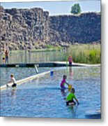 Children Playing In Dierkes Lake In Snake River Above Shoshone Falls Near Twin Falls-idaho  Metal Print