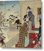 Children Playing In The Snow Under Plum Trees In Bloom Metal Print