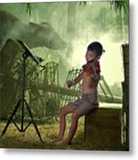 Children Playing Violin In The Folk Style. Metal Print