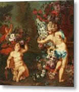 Children Playing With Flowers Metal Print