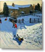 Children Sledging Metal Print