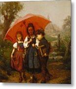 Children Under A Red Umbrella Metal Print