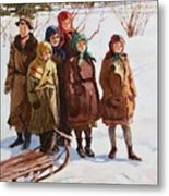 Children With A Sled Nikolai Petrovich Bogdanov-belsky Metal Print