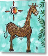 Childrens Nursery Art Original Giraffe Painting Playful By Madart Metal Print