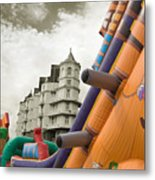 Childrens Play Areas Contrast With The Victorian Elegance Of The Grand Hotel In Llandudno Wales Uk Metal Print