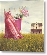Child's Dress And Toys Hanging On Line With Farmhouse In Backgro Metal Print