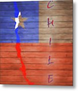 Chile Rustic Map On Wood Metal Print