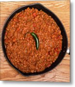 Chili In Black Pan On Wood Table With Jalapeno Pepper Metal Print