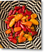 Chili Peppers In Basket  Metal Print