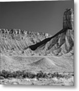 Chimney Rock In Black And White - Towaoc Colorado Metal Print