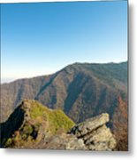 Chimney Tops Vista In Great Smoky Mountain National Park Tennessee Metal Print by Brendan Reals