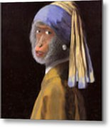 Chimp With A Pearl Earring Metal Print