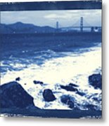 China Beach And Golden Gate Bridge With Blue Tones Metal Print
