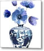 China Blue Vase  With Poppy Flower Metal Print