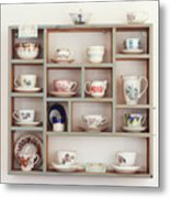 China Cups On Display At An Antique Shop Metal Print