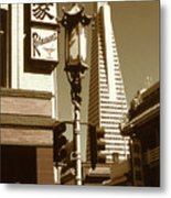 San Francisco Chinatown And Pyramid Metal Print
