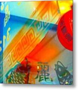 Chinatown Window Reflection 3 Metal Print by Marianne Dow