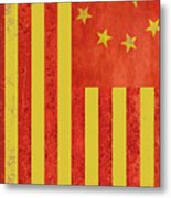 Chinese American Flag Vertical Metal Print